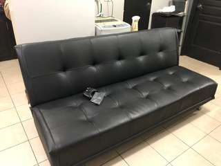 sofa bed black leatherette