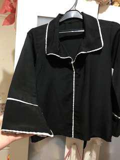 Black Pajamas Blouse vneck white list