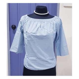 SALE, Uniqlo, 3/4 Blouse Off-Shoulder Light Blue