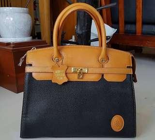 Gebuine Leather Trim Handbag