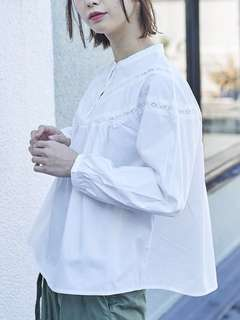 🚚 白色刺繡襯衫 日系earth music & ecology 古著