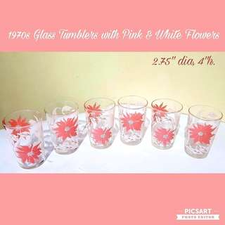 1970s Vintage Pretty Little Soft Drink Glasses with Pink and White Flowers. Stackable. Size as in photo. Unused, Good Condition, no chip no crack. All 6pcs for $10 Clearance Offer, sms 96337309.
