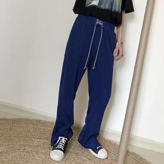 VM 2018新款女 韓版港風 百搭拉鍊開叉設計 休閒運動闊腿長褲 深藍