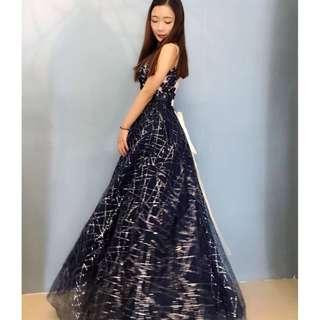 Galaxy Shimmer Long Gown Evening Dinner Dress / Wedding/ Bridesmaid Dress /Dress Nikah/ Maxi Dress (Rent)