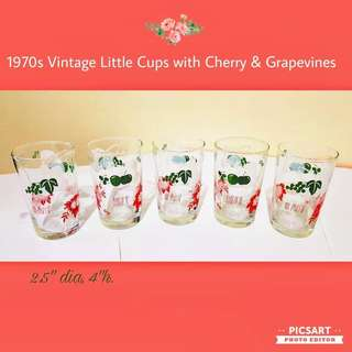 1970s Vintage Pretty Little Soft Drink Glasses in Red-Green-White Colour Mix, with Cherry, Grapes & Flowers motif. Stackable. Size as in photo. Unused, Good Condition, no chip no crack. All 5pcs for $8 Clearance Offer, sms 96337309.