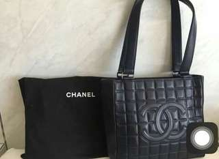 Authentic Chanel Vintage Leather Tote Bag