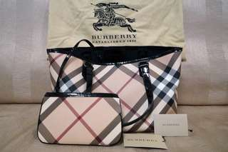 Authentic Burberry Nova Check Tote (Small) With Pouch