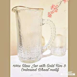 1970s Vintage Glass Jug and cups (4pcs) with embossed wheat motif and Rich Gold Rim. Size as in photo. Unused, Good Condition, no chip no crack. All 5pcs for $10 Clearance Offer, sms 96337309.