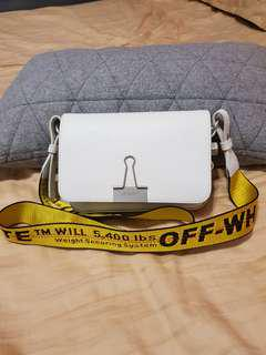 Off white binder bag