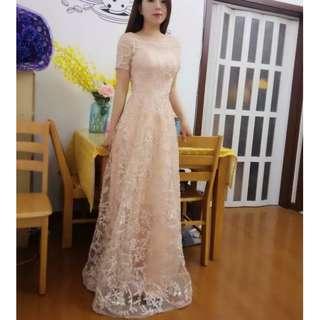Champagne Off Shoulder Long Gown Wedding Evening Dinner Dress / Wedding/ Bridesmaid Dress /Dress Nikah/ Maxi Dress (Rent) #70Fashion
