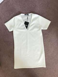 New w/ Tags Misguided White Scuba T Shirt Dress, Size 4