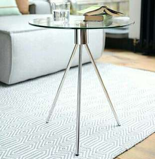 Round Glass Tripod Side Table