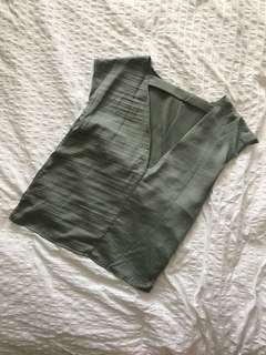 New w/ Tags F21 Olive Green Blouse w/ Open-Back, Size S