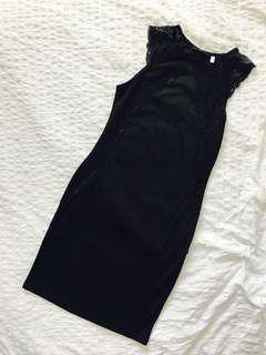 H&M Black Dress w/ Lace Sleeve Detail, Size S