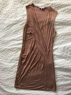 Mendocino (Black Zebra) Nude Wrap Dress, Size S