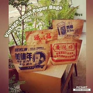 Vintage Paper Bags with Local Shop Names and Addresses. Size as in photo. Good Condition, no chip no crack. All 4pcs for $18 Clearance Offer, sms 96337309.