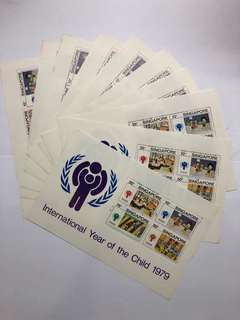Clearing 10% Below Face Value: Singapore 1979 International Year of Child Miniature Sheets X 10 Pieces, Mint Not Hinged, Face Value: $17. Can use as postage.
