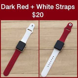 Dark Red + White Replacement Straps for Apple Watch