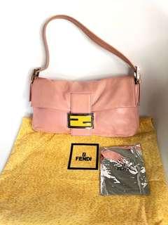 💯真品 Auth Fendi pink leather bag 人氣經典優雅粉紅色真皮手袋