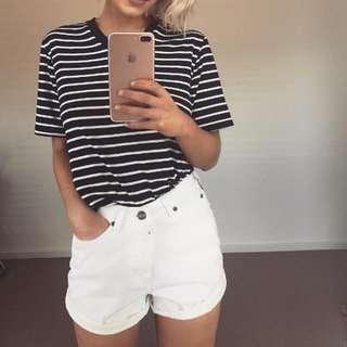 White High Waisted Shorts #july70