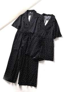 OshareGirl 07 歐美女士襯衫領復古造型圓點連身短褲連身長褲姊妹裝