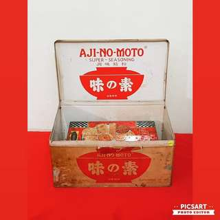 Rare 1950s Vintage Tin or Signage of Ajinomoto. Large with Logo on all sides as well as inside! Size as in photo. $98 Clearance Offer, sms 96337309.