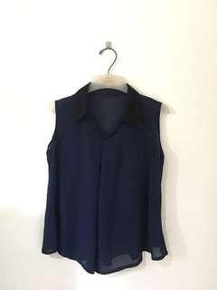 Lace collar sleeveless top