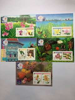 Clearing At Face Value: Singapore 95 Orchid Series No 1 to 5, Miniature Sheets, Complete, Mint Not Hinged.