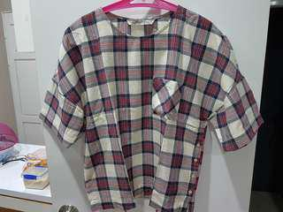 Zara flanel blouse