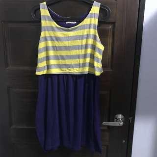 🌸純棉紫色條紋裙