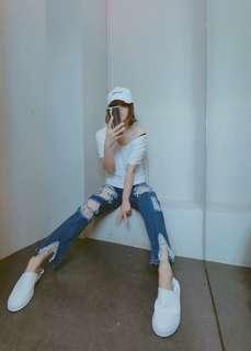 🚚 歐美韓系單寧牛仔藍色超級破褲男友褲跨褲底要褲高腰褲