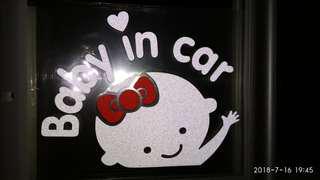 Baby on board in car sticker window windscreen