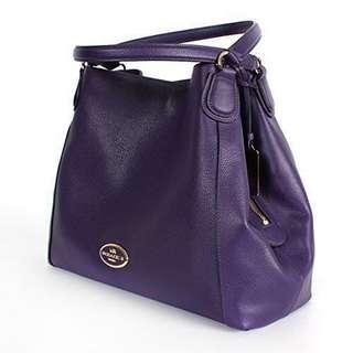 💯 Authentic Coach Edie in pebble leather gold/violet shoulder bag
