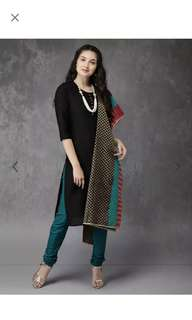 Anouk green and black chudhidhar