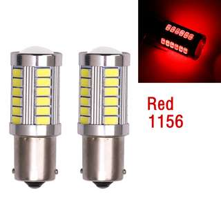 RED LED Bulb For Reverse Signal 1156 33-SMD BA15S 30W Super Bright 2PCs
