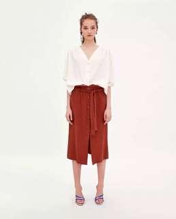 OshareGirl 07 歐美女士純色鬆緊腰圍綁帶單排釦造型裙長裙半身裙
