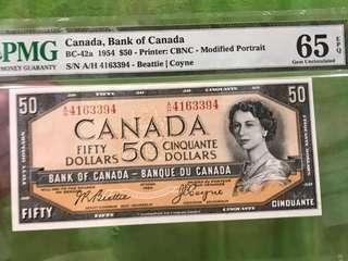 Canada 1954 $50 Queen E UNC note