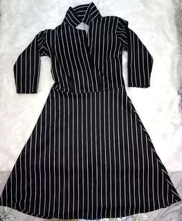 Chinese Collared Striped Dress