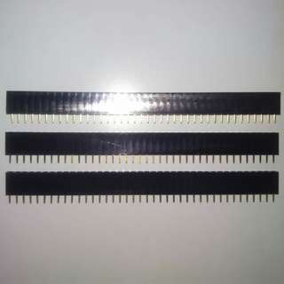3PCS of 40Pin 2.54mm Pitch Single Row Straight Female Pin Header Strip for PCB, Perfboard & Stripboard
