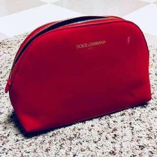 全新 D&G 紅色化妝袋 Dolce & Gabbana 化妝包 make up bag pouch
