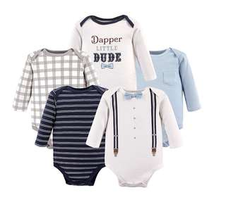 🚚 *3M* Brand New Little Treasures 5-Pack Long Sleeve Bodysuits For Baby Boy