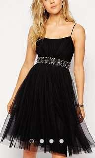 Needle & Thread UK8 little black dress tulle grad din wedding party 黑色紗裙  sale