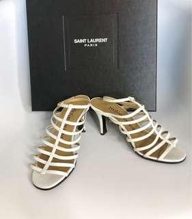💯真品 特價 很新 Auth YSL leather sandals 人氣經典真皮米白色羅馬涼鞋女神鞋