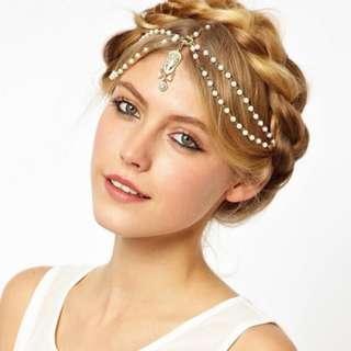 Readystock gold white Hair head accessory boho bohemian Turkish Beaded