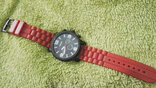 Original Fossil Nate Chronograph Red Silicone Watch