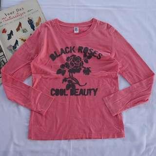 🚚 🌴90s日牌粉色黑玫瑰印花長袖T恤 女款Vintage 日本帶回古著