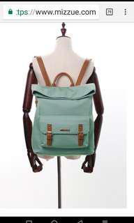 Brand new mizzue Gray-green canvas stitching leather folding flip double leather buckle dual-use backpack灰綠色帆布拼接皮革摺疊翻蓋雙皮扣兩用後背包