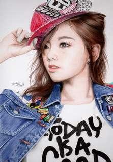 Hand drawn Colour pencil portrait of Taeyeon