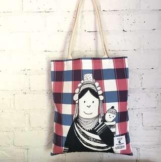泰國清邁品牌 Playworks Canvas Bag 民族婦女及嬰兒圖案帆布袋環保袋 Tote Bag及散子包