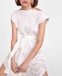 OshareGirl 07 歐美女士圓領皺摺感腰綁帶造型連身洋裝連身裙